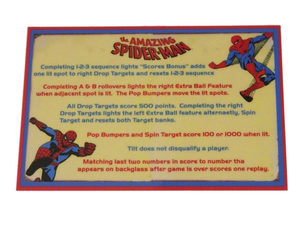 Instruction Card for The Amazing Spiderman, transparent