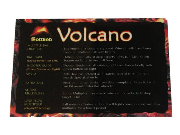 Instruction Card for Volcano, transparent