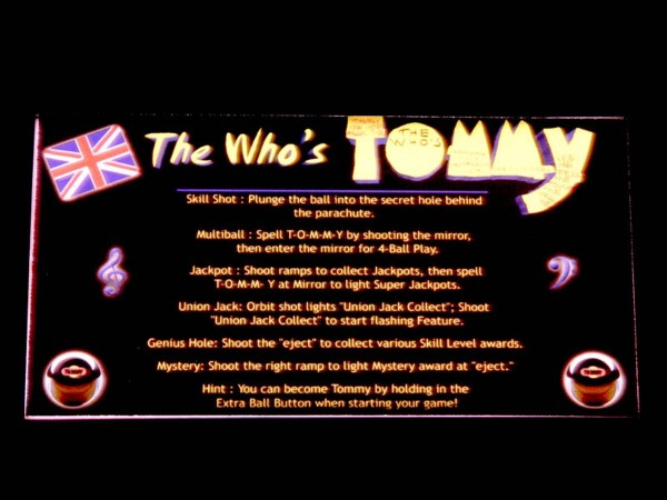 Instruction Card for The Who's Tommy Pinball Wizard, transparent