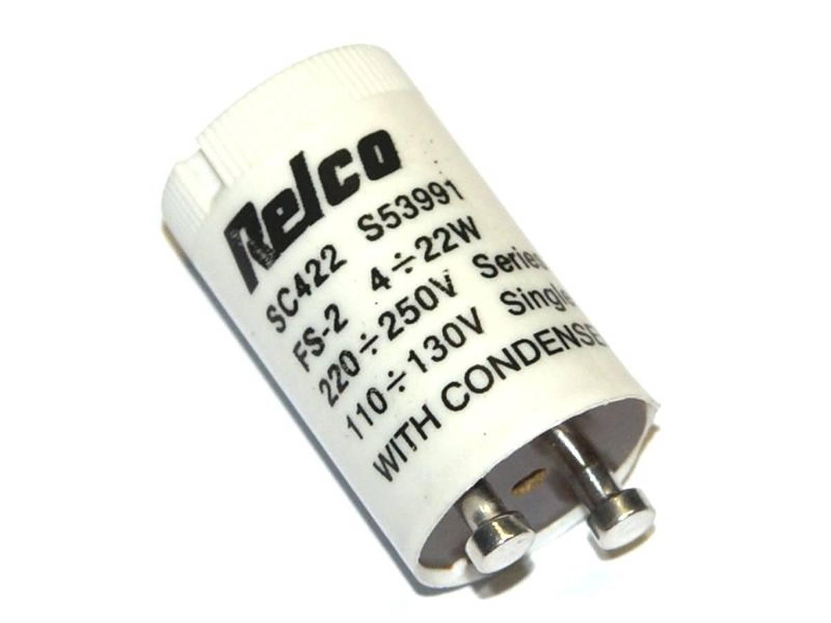 Fluorescent starter capacitor
