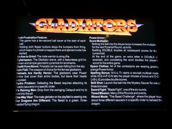 Instruction Card for Gladiator