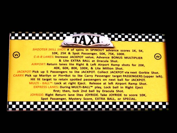 Instruction Card for Taxi, transparent