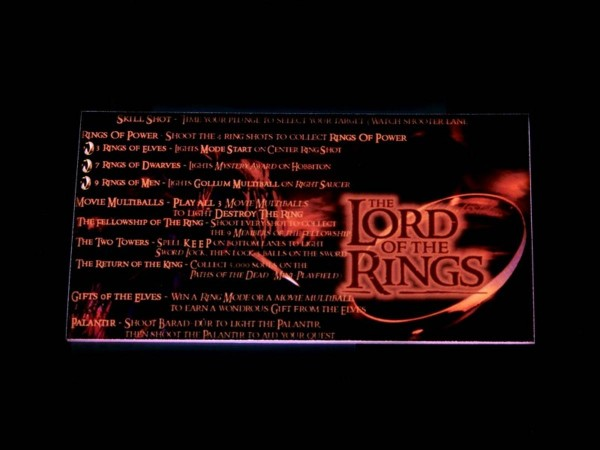 Instruction Card for The Lord of the Rings, transparent