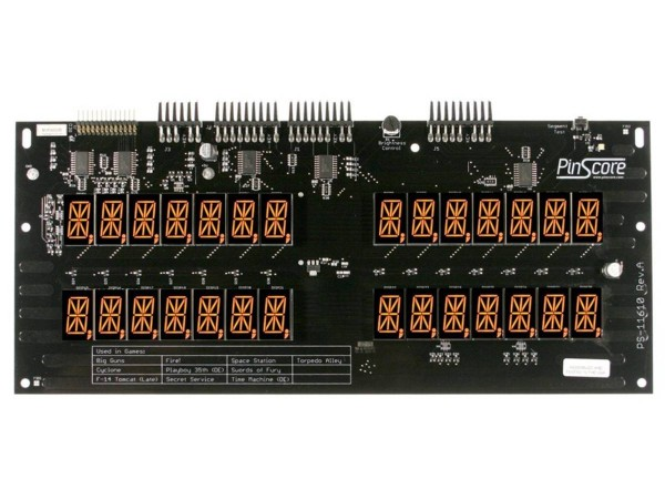 PinScore Pinball LED Display for Williams System 11A, 11B and Data East V2