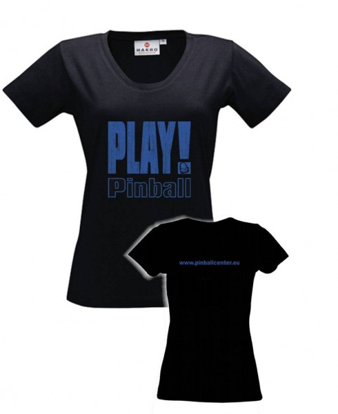 "Lady T-Shirt ""Play Pinball"" - M, black"