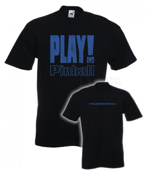 "T-Shirt ""Play Pinball"" - S, black"