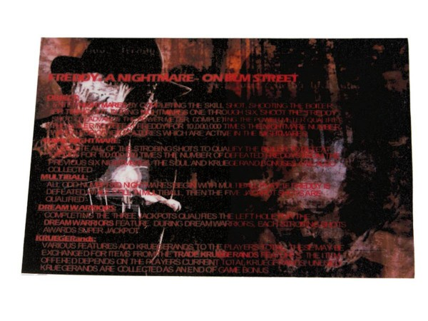 Instruction Card for Freddy: a Nightmare on Elm Street, transparent
