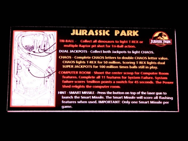 Instruction Card for Jurassic Park, transparent