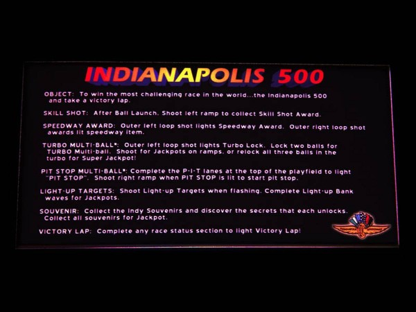 Instruction Card for Indianapolis 500, transparent