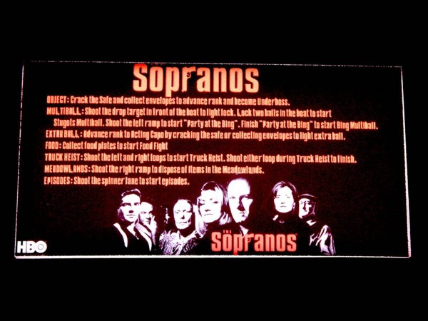 Instruction Card for The Sopranos, transparent