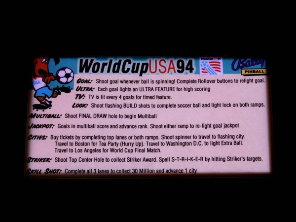 Instruction Card for World Cup Soccer, transparent