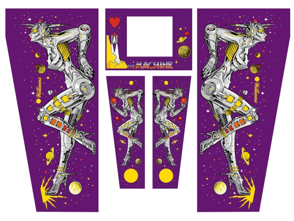 Cabinet Decal Set for The Machine: Bride of Pinbot (purple)