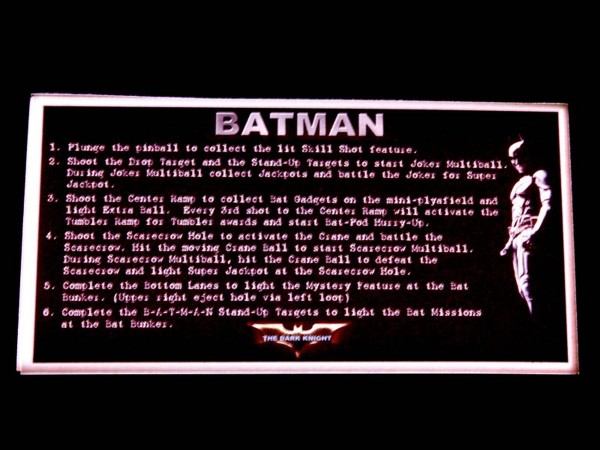 Instruction Card for Batman, transparent