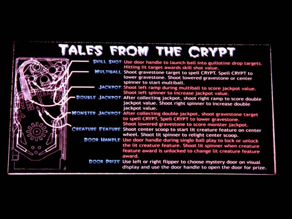 Instruction Card for Tales from the Crypt, transparent
