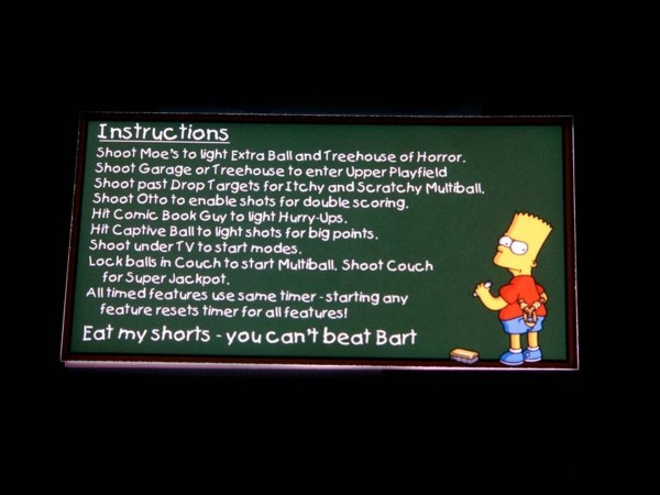 Instruction Card for The Simpsons Pinball Party, transparent